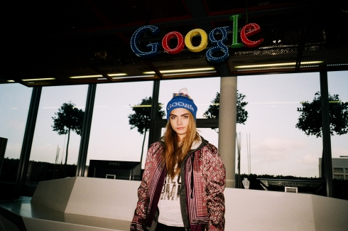 Cara Delevingne outside Google HQ with Topshop